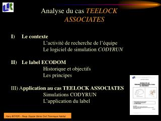 Analyse du cas  TEELOCK ASSOCIATES