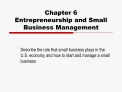 Chapter 6 Entrepreneurship and Small Business Management