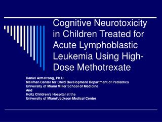 Cognitive Neurotoxicity in Children Treated for Acute ...