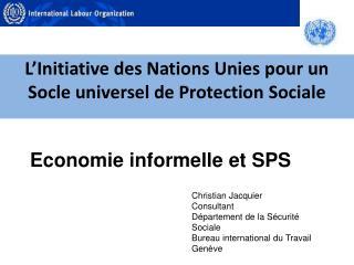 L'Initiative des Nations Unies pour un Socle universel de Protection Sociale