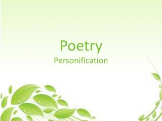 Poetry Personification