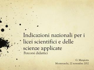 Indicazioni nazionali per i licei scientifici e delle scienze applicate