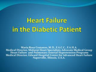 Heart Failure  in the Diabetic Patient