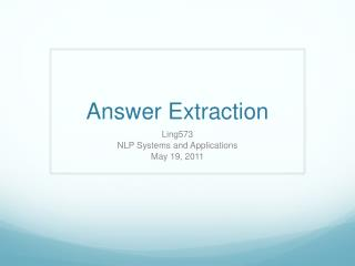 Answer Extraction
