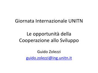 Giornata Internazionale UNITN Le opportunità della  Cooperazione allo Sviluppo