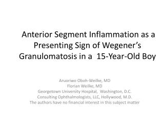 Aruoriwo Oboh-Weilke , MD Florian Weilke , MD Georgetown University Hospital,  Washington, D.C.
