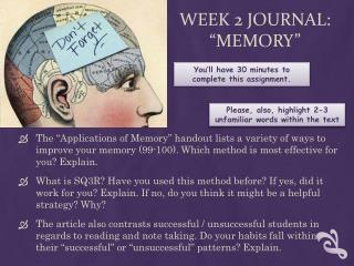 """Week 2 Journal: """"Memory"""""""