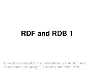 RDF and RDB 1