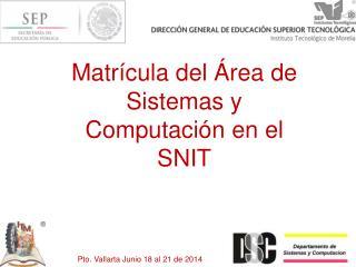 Matrícula del Área de Sistemas y Computación en el SNIT