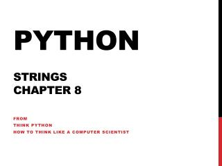 Python Strings chapter 8