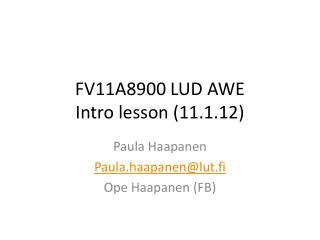 FV11A8900 LUD AWE Intro  lesson  (11.1.12)