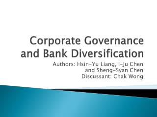 Corporate Governance and Bank Diversification