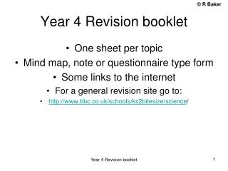 Year 4 Revision booklet