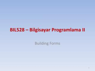 BI L528  –  Bilgisayar Programlama II