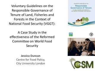 Jessica Duncan Centre for Food Policy, City University London
