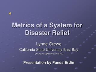 Metrics of a System for Disaster Relief