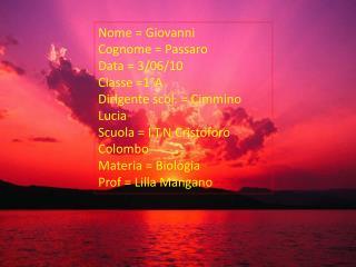 Nome = Giovanni  Cognome =  Passaro Data = 3/06/10 Classe =1°A Dirigente  scol . =  Cimmino  Lucia