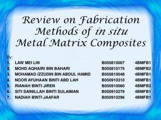 Review on Fabrication Methods of  in situ  Metal Matrix Composites