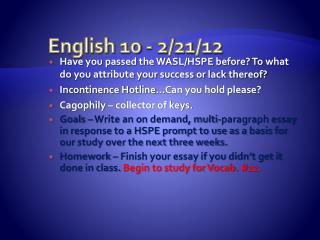 English 10 - 2/21/12