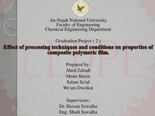 An- Najah National University Faculty of Engineering Chemical Engineering  Department