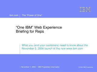 One IBM Web Experience Briefing