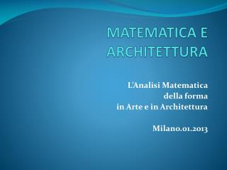 MATEMATICA E ARCHITETTURA