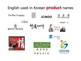 English used in Korean  product  names
