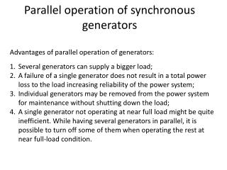 Parallel operation of synchronous generators