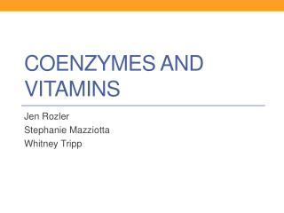Coenzymes and Vitamins
