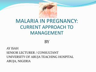 MALARIA IN PREGNANCY: CURRENT APPROACH TO MANAGEMENT