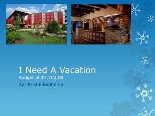 I Need A Vacation  Budget of $1,700.00