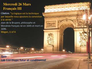 Mercredi 26 Mars Français  III