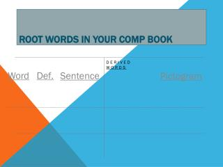 Root Words in Your Comp Book