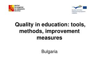 Quality in education: tools, methods, improvement measures