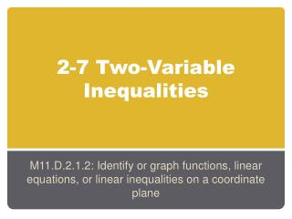 2-7 Two-Variable Inequalities