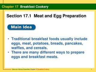 Section 17.1  Meat and Egg Preparation
