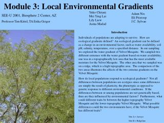 Module 3: Local Environmental Gradients