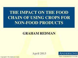 The impact on the food chain of using crops for non-food products