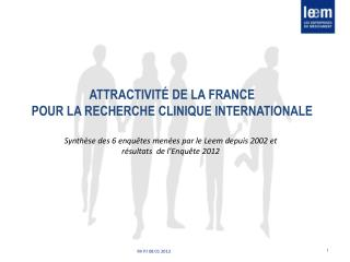 Attractivité de la France  pour la recherche clinique internationale