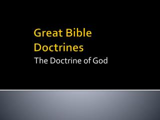 Great Bible Doctrines