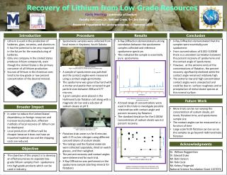 Recovery of Lithium from Low Grade Resources