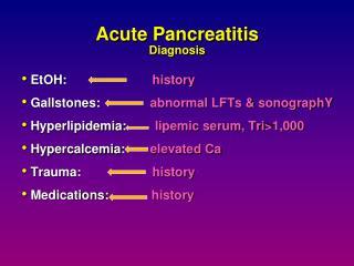 Acute Pancreatitis Diagnosis