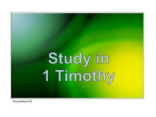 Study in 1 Timothy