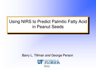 Using NIRS to Predict Palmitic Fatty Acid in Peanut Seeds