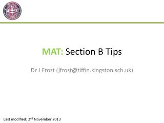 MAT:  Section B Tips