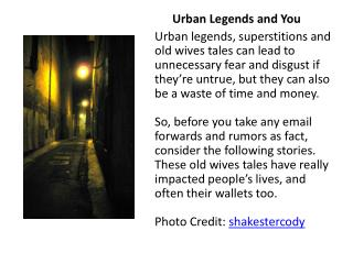 Urban Legends and You