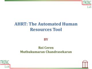 AHRT: The Automated Human Resources  T ool