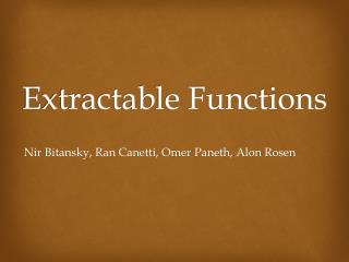 Extractable Functions