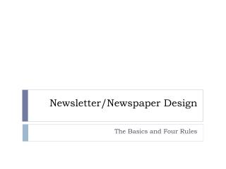 Newsletter/Newspaper Design