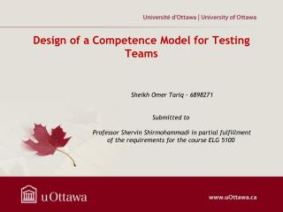 Design of a  Competence Model  for  Testing Teams